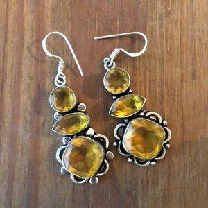 Jewelry - Yellow Gemstone Silver Dangle Earrings
